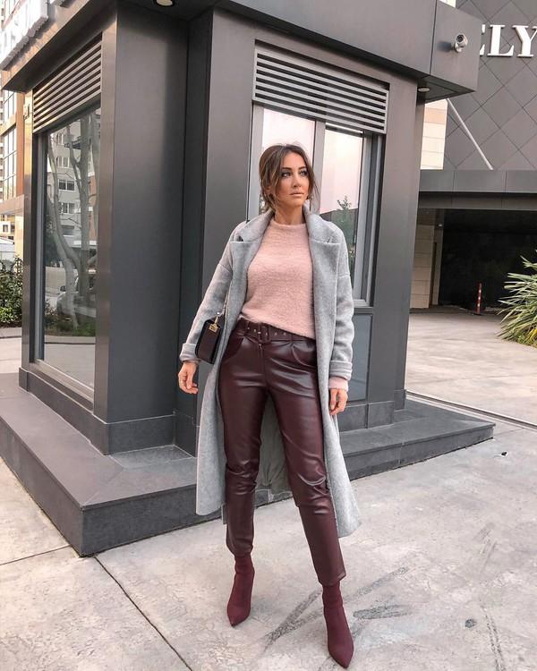 pants leather pants sock boots grey coat pink sweater bag