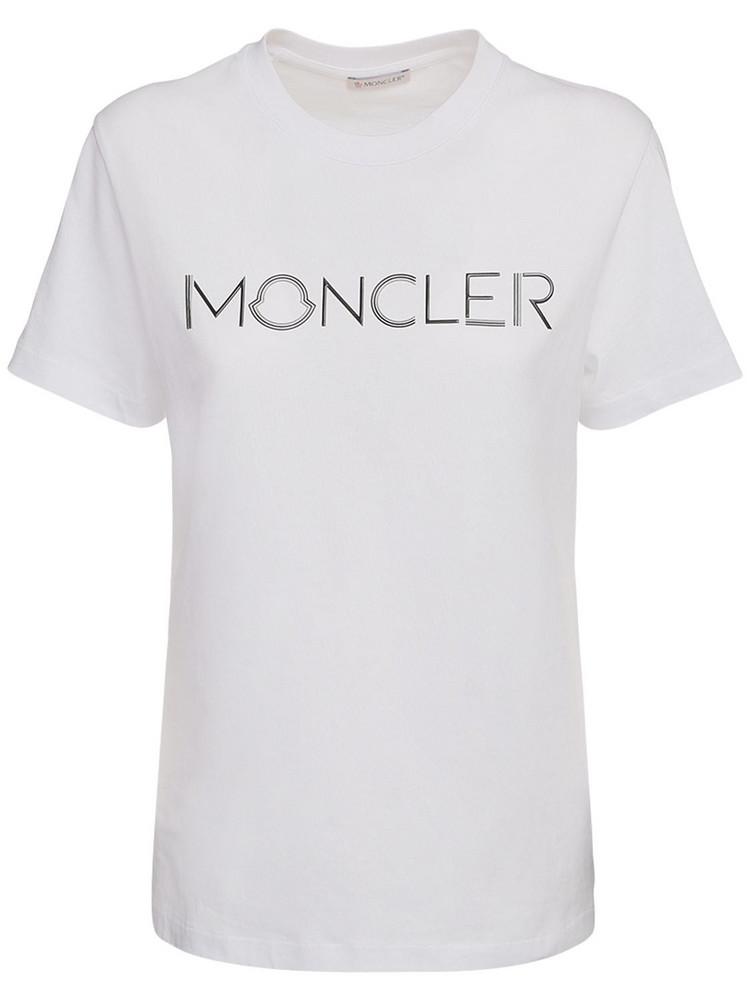MONCLER Logo Cotton Jersey T-shirt in white