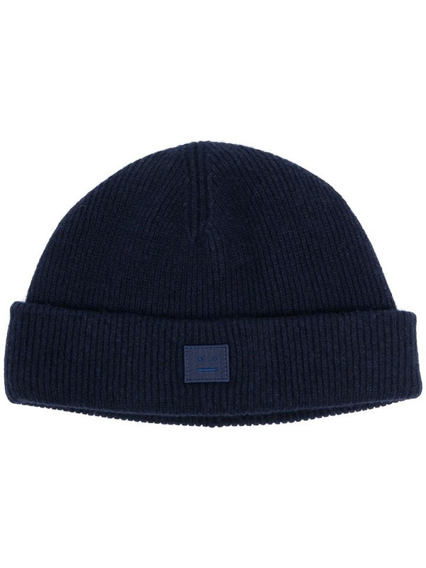Acne Studios face-patch knitted beanie in blue