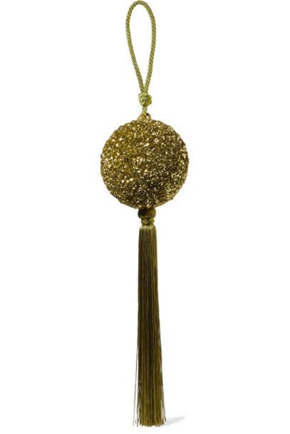 Oscar de la Renta - Billiard Tasseled Sequined Clutch - Leaf green