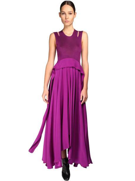 PETAR PETROV Viscose & Silk Long Dress in purple
