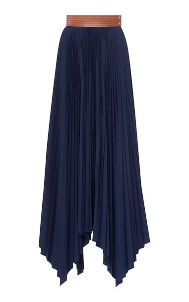 Loewe Pleated Asymmetric Skirt in blue