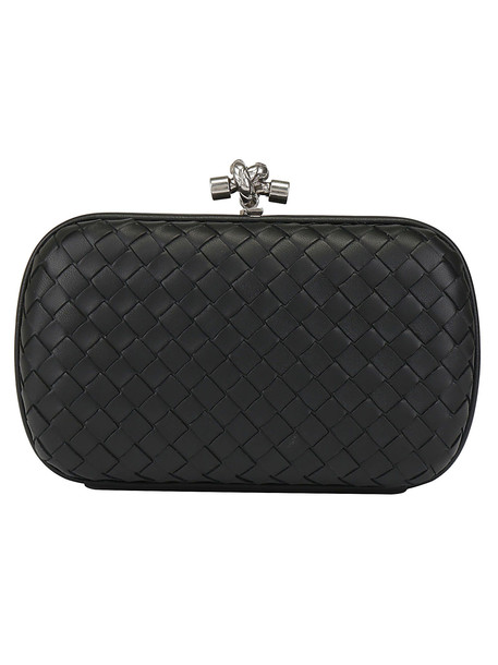 Bottega Veneta Nappa Clutch in nero / silver