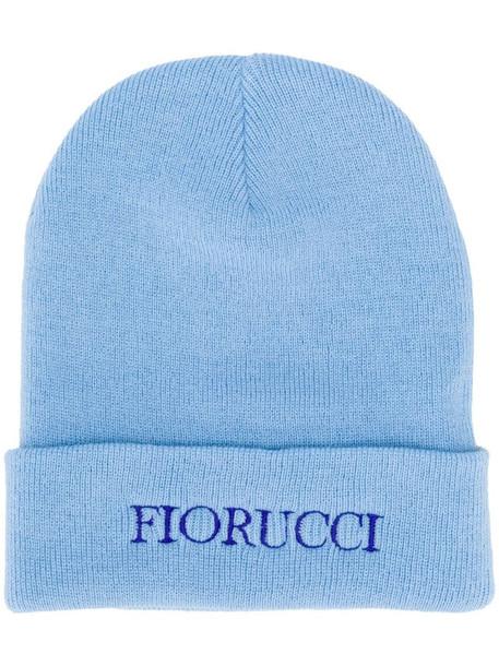 Fiorucci embroidered logo beanie in blue