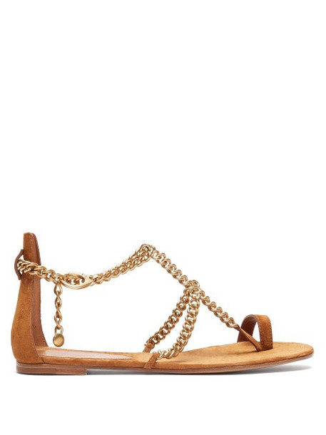 Gianvito Rossi - Chain Suede Flat Sandals - Womens - Tan