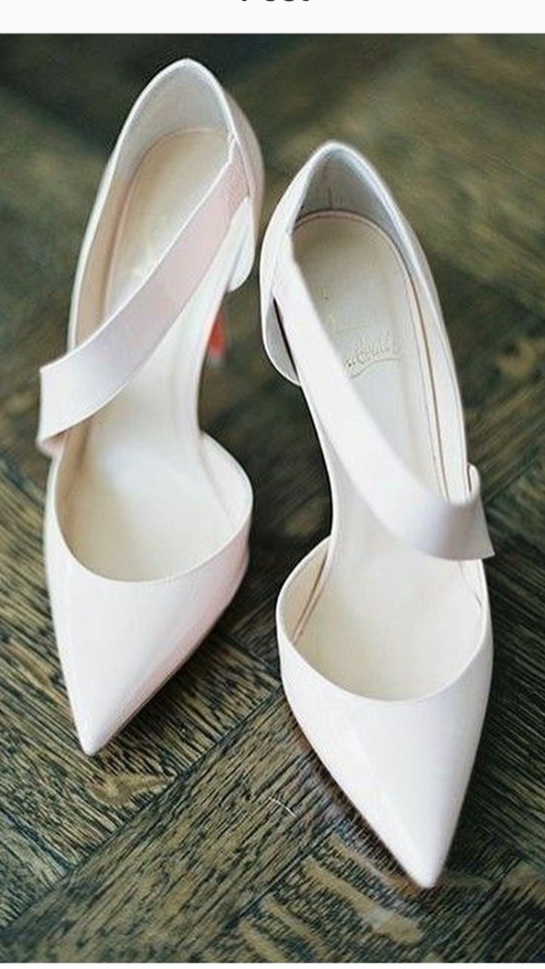 shoes jumping louboutin bridal white asymmetrical pumps pointed toe pumps high heels