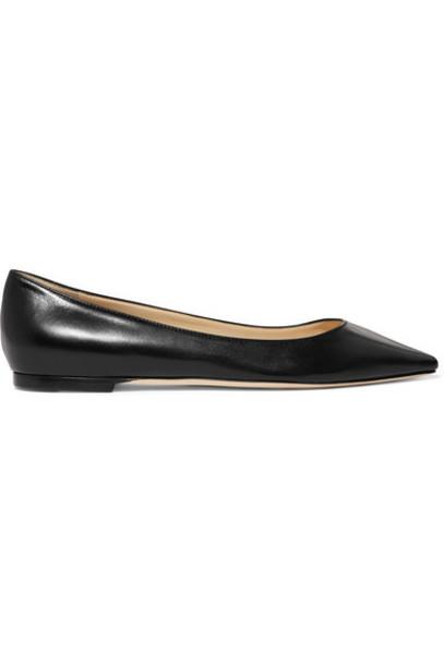 Jimmy Choo - Romy Leather Point-toe Flats - Black