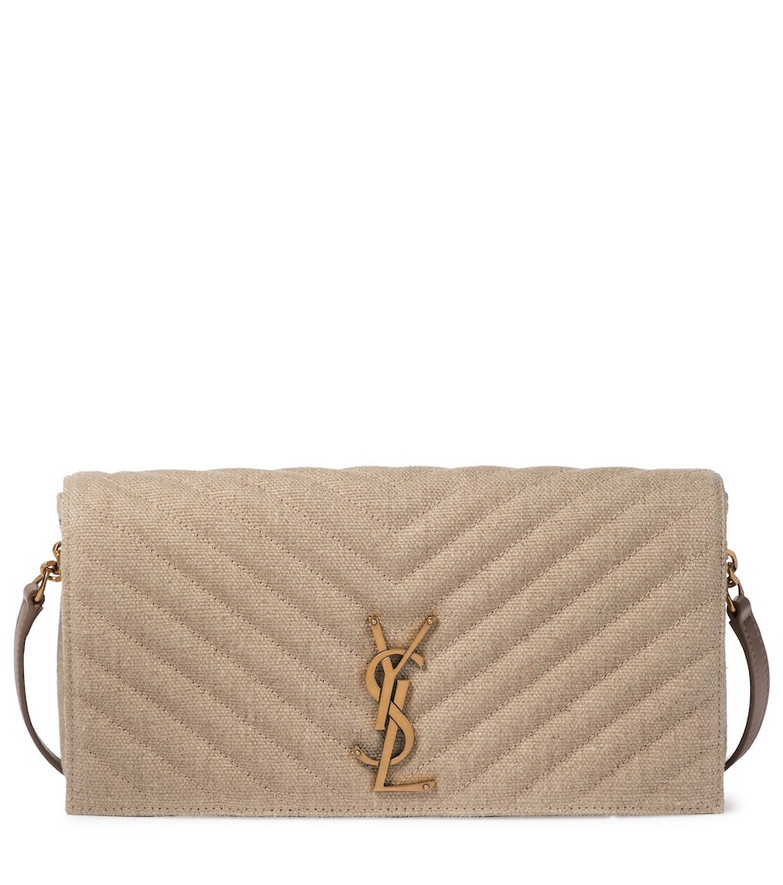 Saint Laurent Kate 99 linen shoulder bag in beige