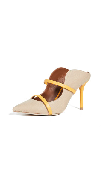 Malone Souliers Maureen 85 Mules in yellow / beige