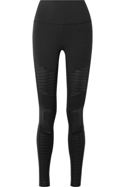 Alo Yoga - Moto Mesh-trimmed Stretch Leggings - Black