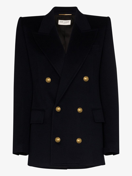 Saint Laurent Double-breasted wool blazer in blue