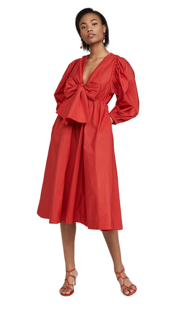 MSGM Bow Front Midi Dress in red