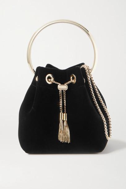 Jimmy Choo - Bon Bon Velvet Bucket Bag - Black