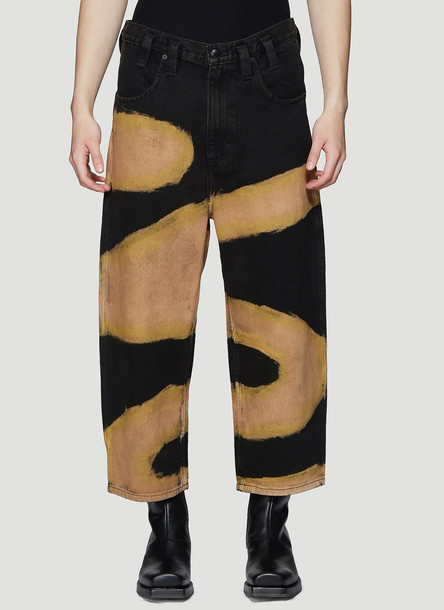 Eckhaus Latta Chemtrail Dyed Baggy Jeans in Black size 27