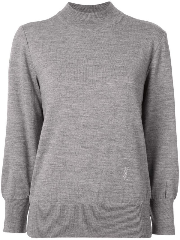 Yves Saint Laurent Pre-Owned logo embroidered jumper in grey
