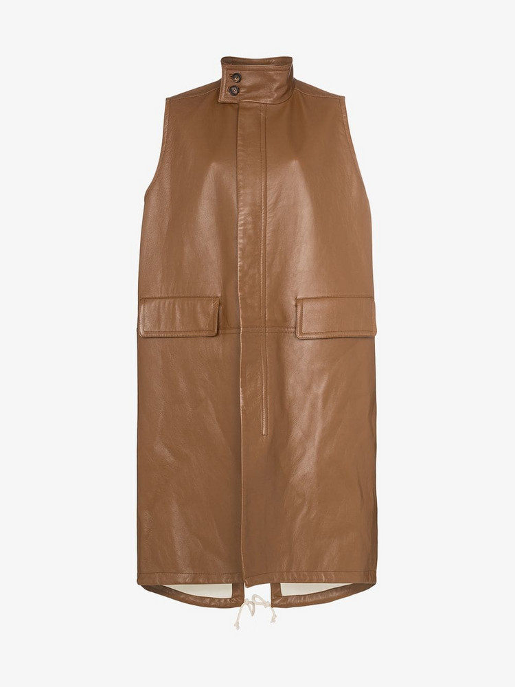 Plan C oversized sleeveless mid-length leather jacket in brown