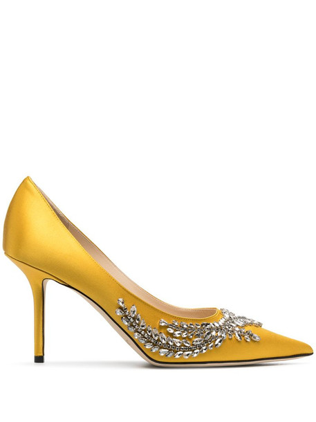 Jimmy Choo satin stiletto pumps with crystal embellishment in yellow