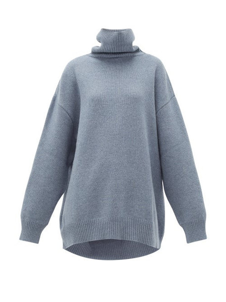 Raey - Displaced-sleeve Roll-neck Wool Sweater - Womens - Blue