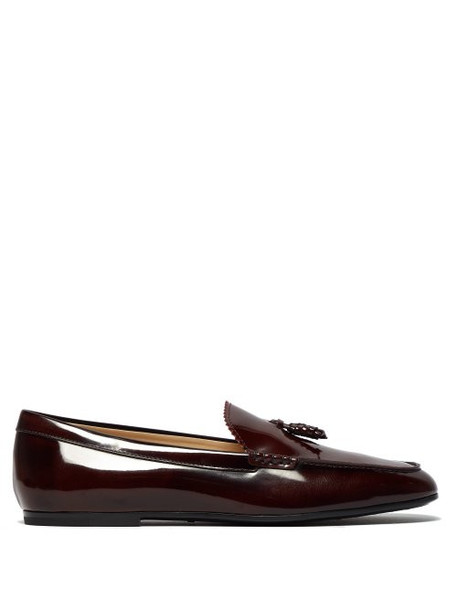 Tod's - Tassel Patent Leather Loafers - Womens - Burgundy