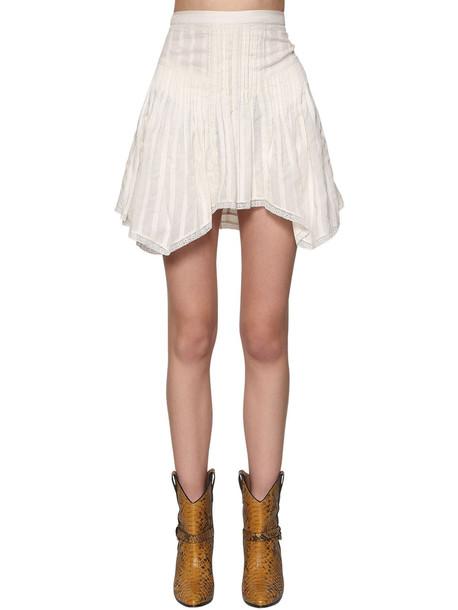 ISABEL MARANT ÉTOILE Ruffled Cotton Mini Skirt in white