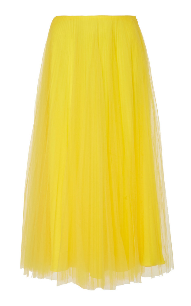 Ralph Lauren Trivelas Tulle Pleated Skirt Size: 0 in yellow