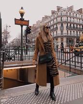 coat,brown coat,long coat,revolve clothing,black boots,ankle boots,black skinny jeans,scarf,sunglasses,black bag,crossbody bag