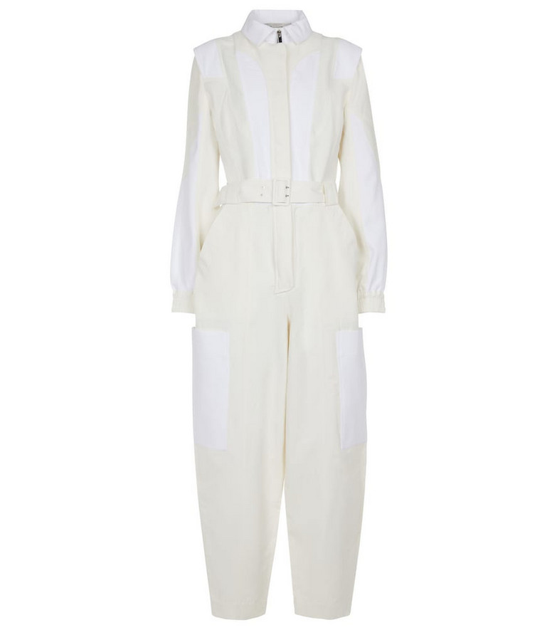 Stella McCartney Belted cotton-blend jumpsuit in white