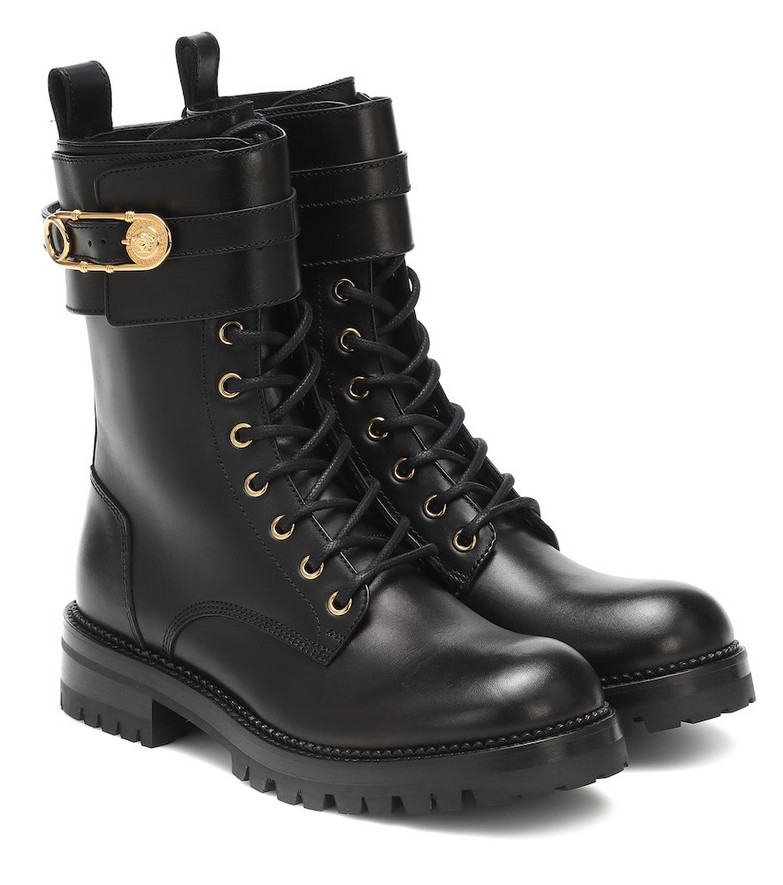Versace Safety Pin leather ankle boots in black