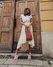 skirt,asymmetrical skirt,midi skirt,sneakers,white t-shirt,handbag