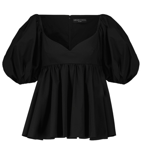 CAROLINE CONSTAS Leigh puff-sleeved cotton-blend top in black