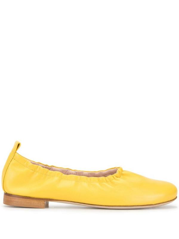 Rodo high throat ballet pumps in yellow