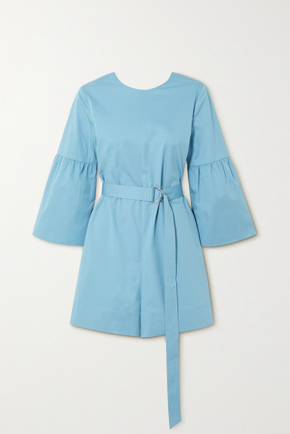 TIBI - Belted Organic Cotton-poplin Playsuit - Blue
