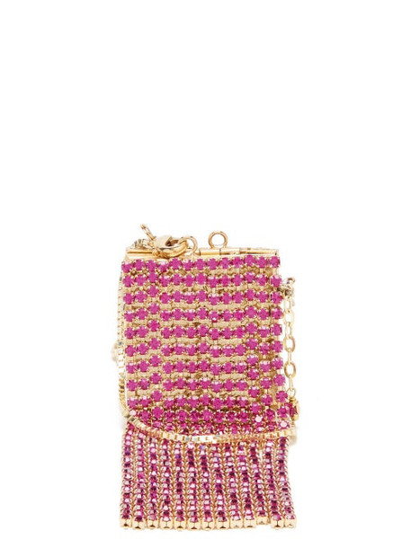 Rosantica - Mini Crystal-tassel Picture-frame Necklace Bag - Womens - Pink Multi