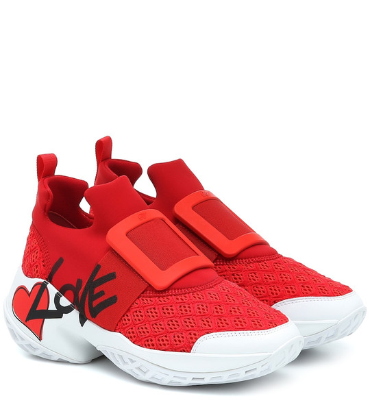 Roger Vivier Viv' Run Lovely neoprene sneakers in red