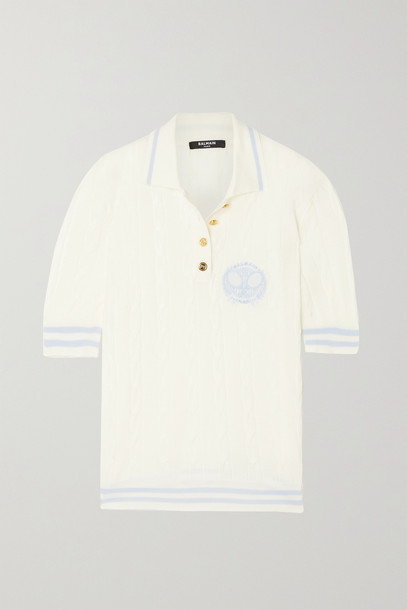 BALMAIN - Embroidered Cable-knit Merino Wool Polo Shirt - White