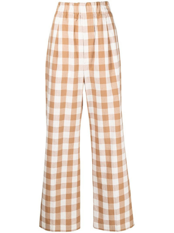 Jejia high-rise check-print wide-leg trousers in brown