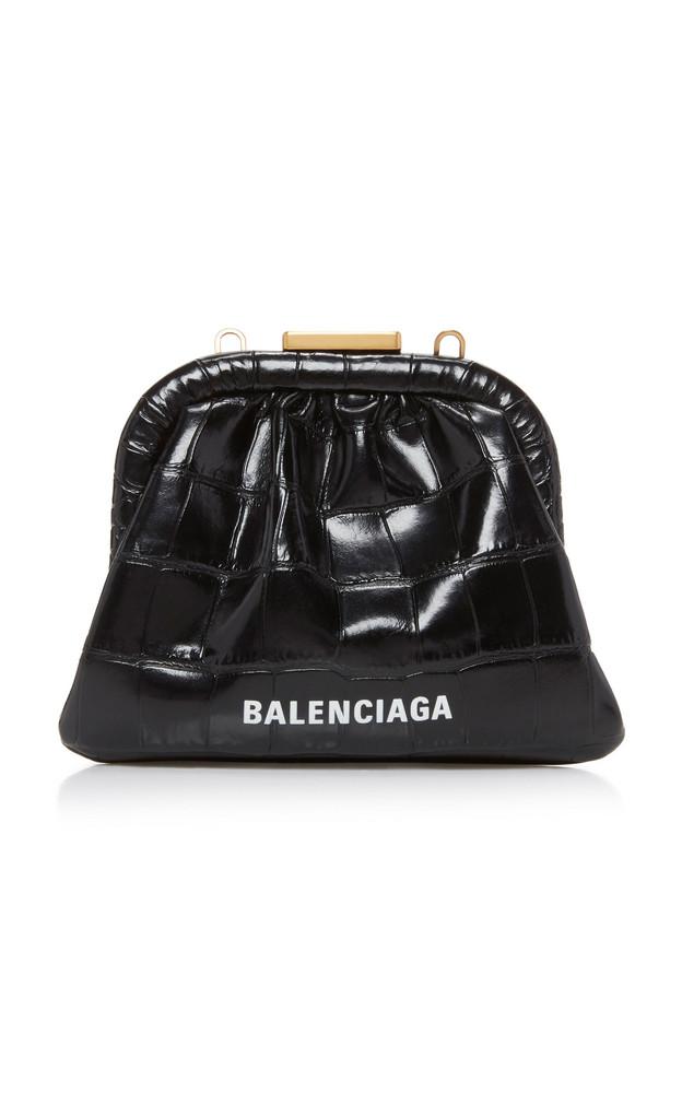 Balenciaga Cloud Croc-Effect Leather Coin Purse in black