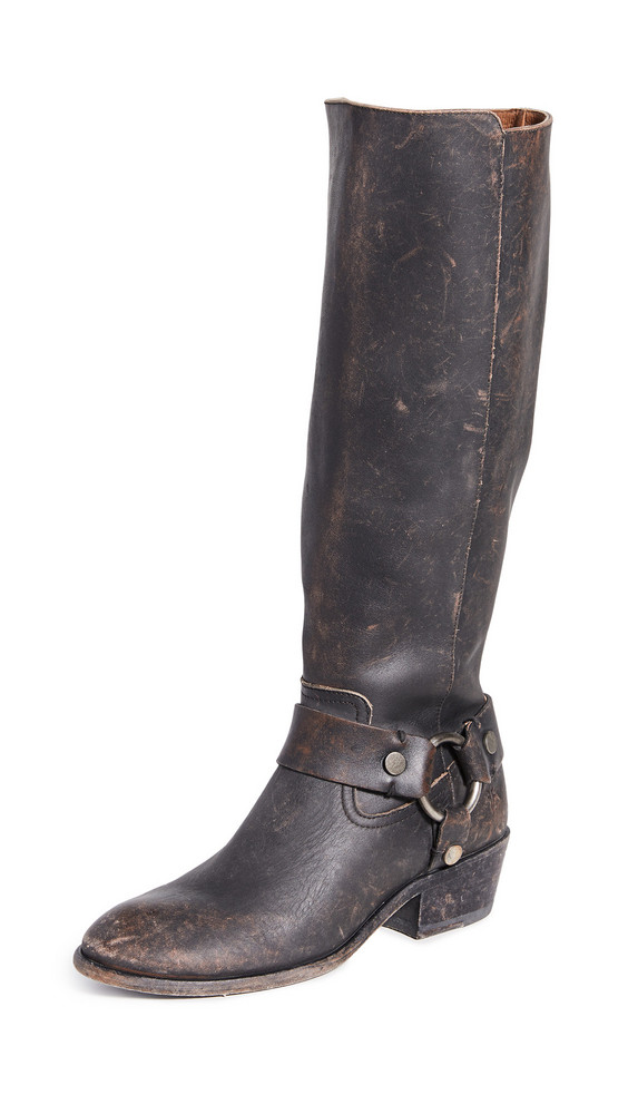 Frye Carson Harness Tall Boots in black