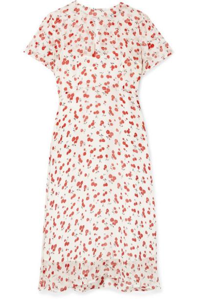 HVN - Lindy Printed Crinkled Silk-chiffon Dress - Red