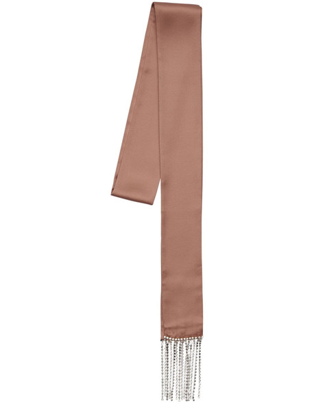 LES INCONNUS Debby Silk Satin Scarf W/crystal Fringes in blush