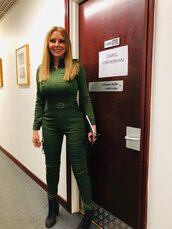 jumpsuit,green,olive green,tight,belted,pockets,very tight,carol vorderman,high waisted