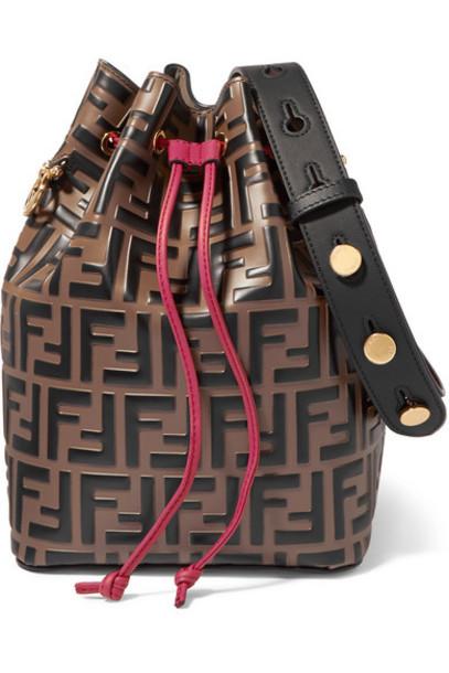 Fendi - Mon Trésor Embossed Leather Bucket Bag - Brown