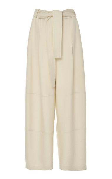 Sally LaPointe Belted Twill Wide-Leg Pants in white