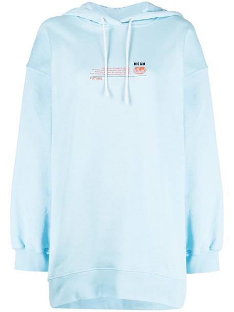 MSGM graphic-print drawstring hoodie in blue