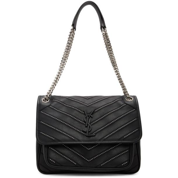 Saint Laurent Black Medium Micro Studs Niki Bag