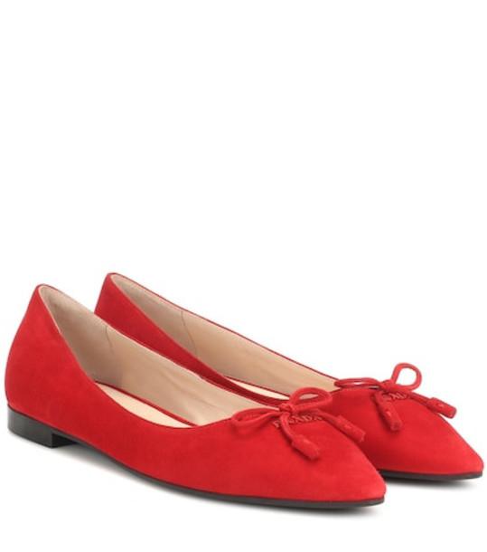 Prada Suede ballet flats in red