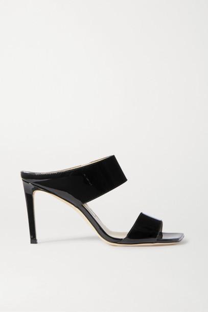 Jimmy Choo - Hira 85 Patent-leather Mules - Black
