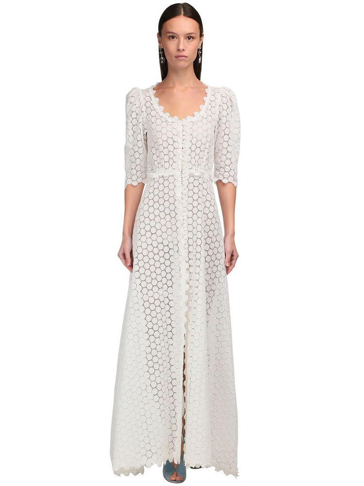 LUISA BECCARIA Button-up Linen Eyelet Lace Long Dress in white