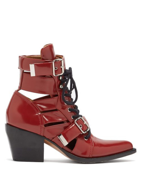 Chloé Chloé - Rylee Leather Ankle Boots - Womens - Red