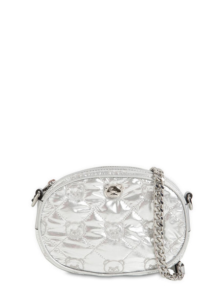 MOSCHINO Quilted Laminated Nylon Camera Bag in silver